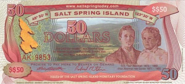 $$50 Salt Spring Dollars