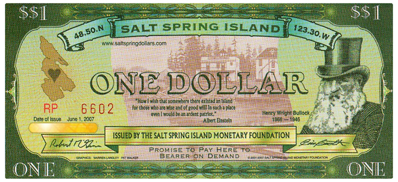 Salt Spring Dollar Bill