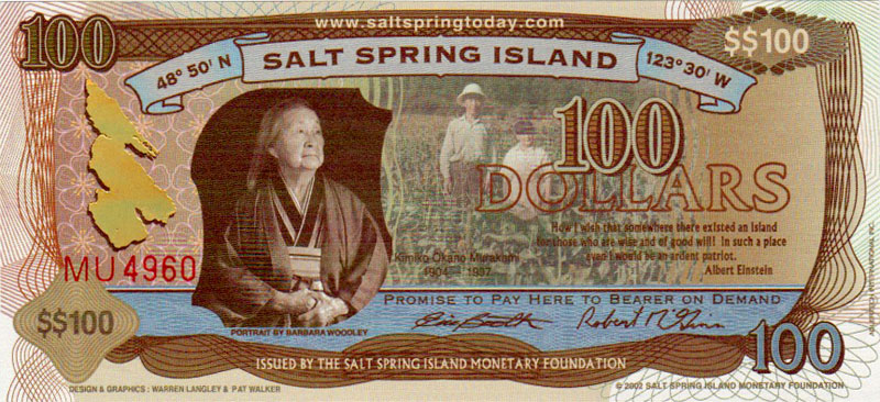 Salt Spring Dollars $100 Bill