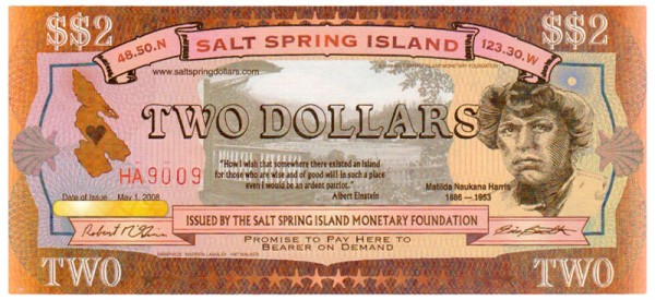 Salt Spring Dollar $$2 bill